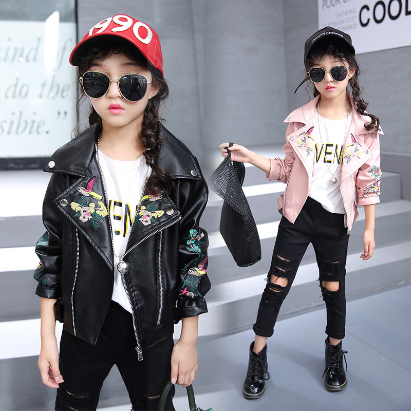 3-12 Years Children Girl Clothing Faux Leather Jacket Fashion Turn Collar Zipper Embroidered Birdie PU Leather Coat For Girls