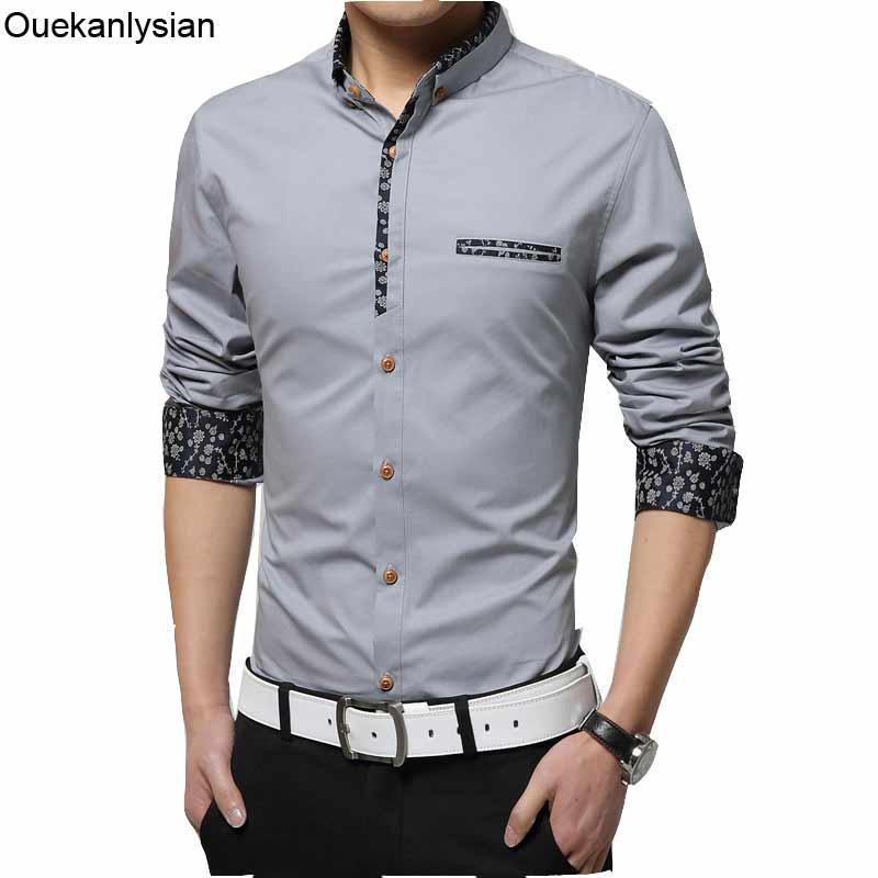Ouekanlysian Cotton Casual Men Shirt Long Sleeve Floral