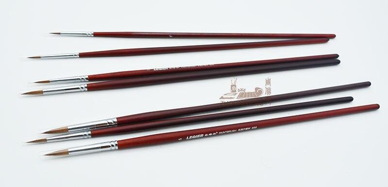 7pcs/Set Weasel Hair Watercolor Gouache Painting Pen Dark Red Birch Wooden Handle Paint Brush Set Drawing Art Supplies