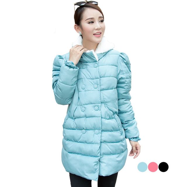 Winter maternity wadded jacket hooded outerwear Mao fur collar double breasted overcoat for pregnant women clothes 1605