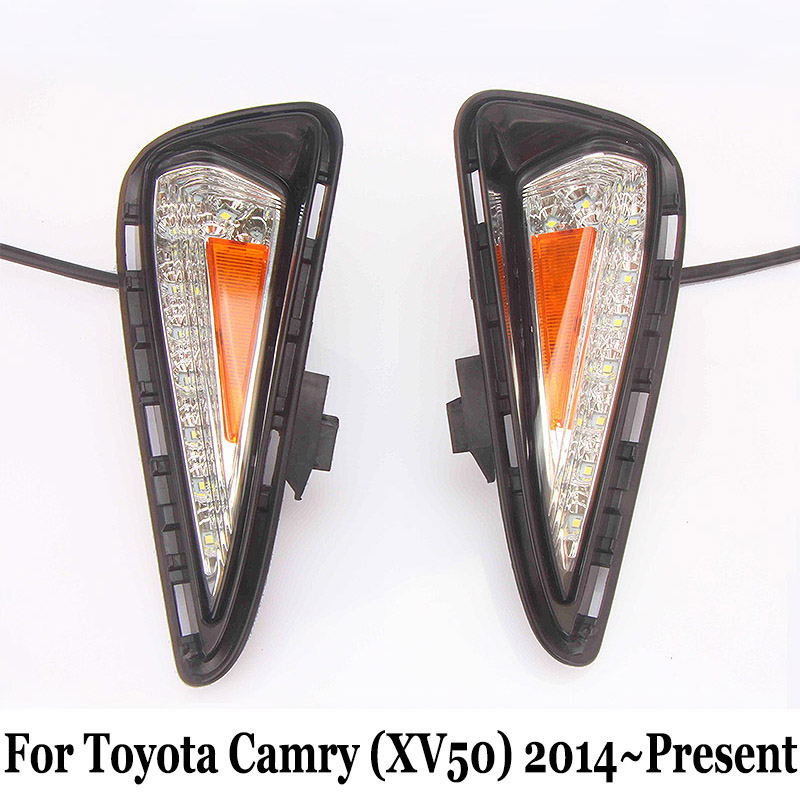 DRL For Toyota Camry (XV50) 2014~Present / 12V Car Daytime Running Light & Cornering Lamp / Car Styling Auto Day Driving Lamp