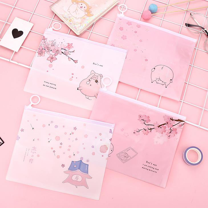 1 Pcs Cartoon Animal Pink Sakura Cherry Pig Transparent PVC Document Bags File Folder Stationery Organizer Receipt Bill Bags