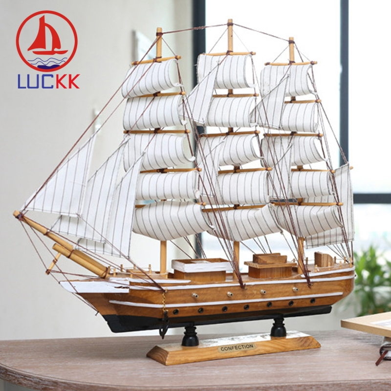 LUCKK 50CM Handmade Mediterranean Style Wooden Model Ships Home Decoration Wood Ornament Carfts Nautical SailBoat Figurine Gift in Figurines Miniatures from Home Garden