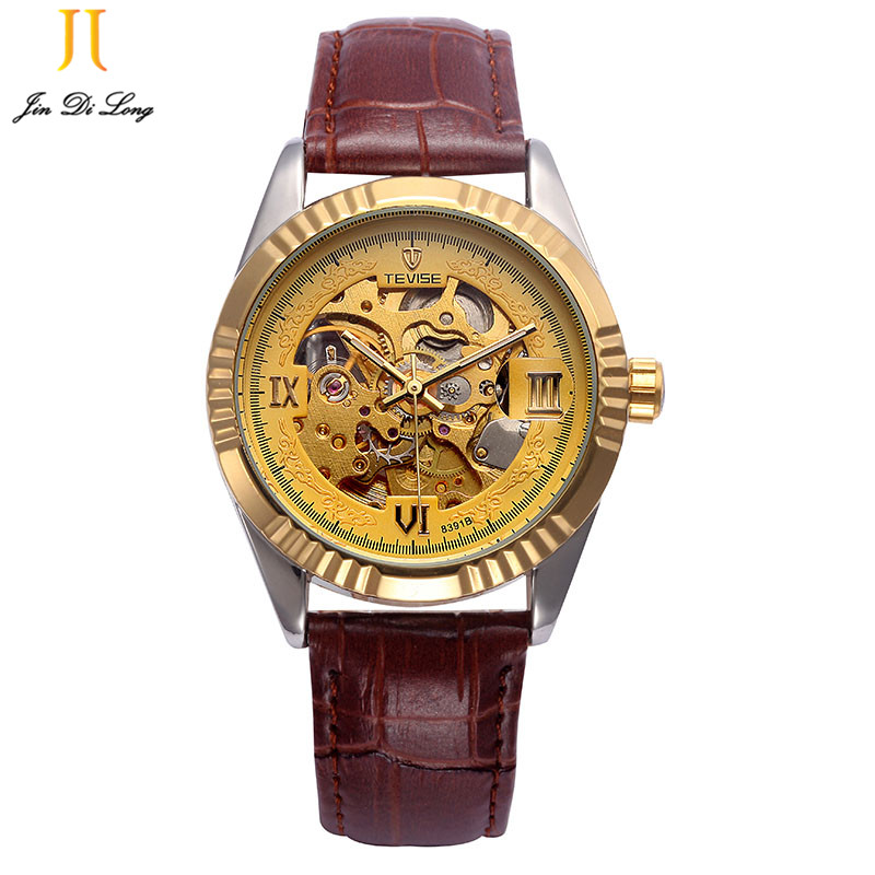 TEVISE Fashion Business Men Brand  Watches Hollow Waterproof Automatic Mechanical Wristwatches Relogio Masculino Xmas Gift forsining fashion brand men simple casual automatic mechanical watches mens leather band creative wristwatches relogio masculino