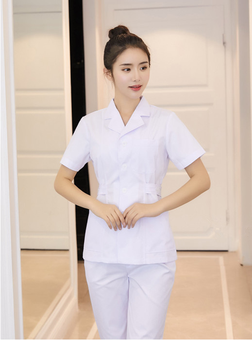 2018 Medical Clothing White Long/short Sleeve Tops Medical Coat Dental Lab Doctor Uniform WomenPharmacies Work Clothes