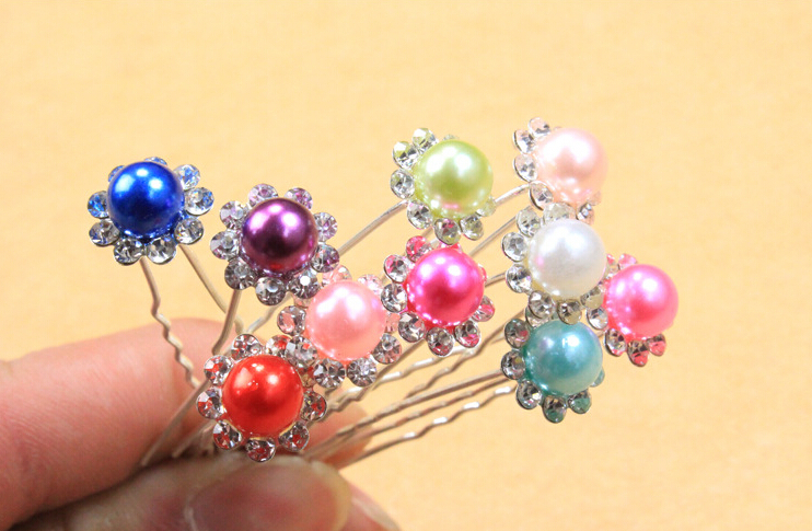 free shipping new design women's fashion head sticks pins with floral pearl brooches muslim hijab 50pcs/lot mix color order