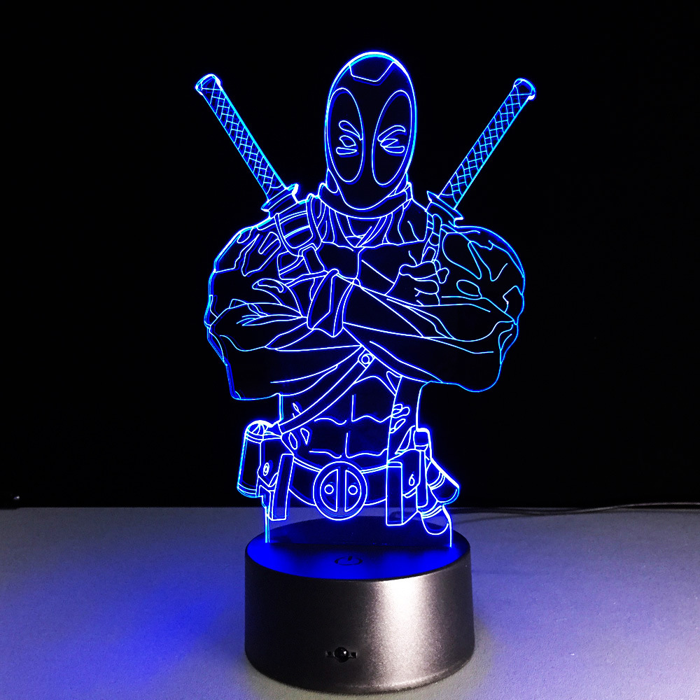 Deadpool Shape Acrylic 3D Nigh Tlight Baby USB Remote Or Touch Switch LED 7 Color Change Love Indoor Light In Night Lights From Lighting On