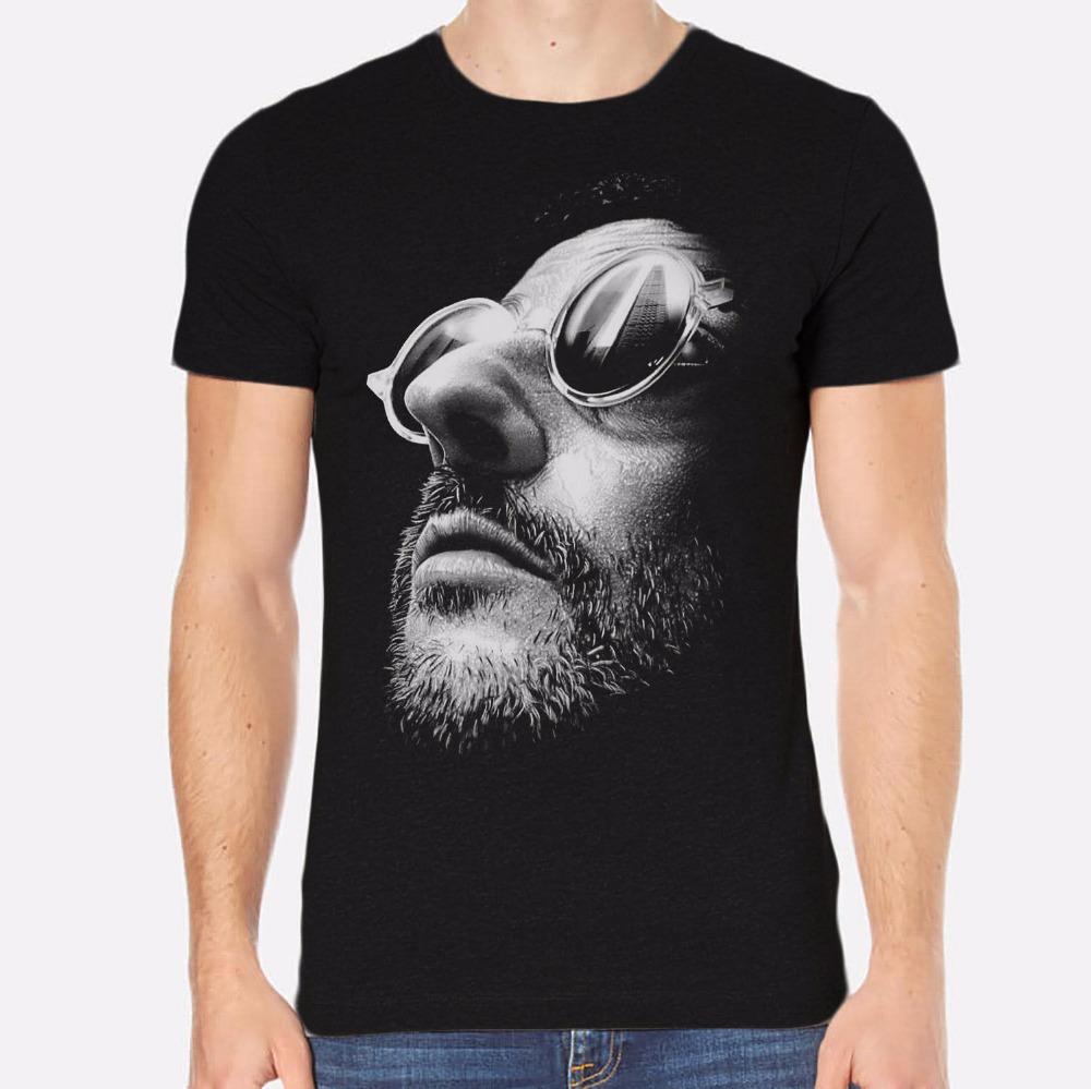 Vintage Tees Office Men O-Neck Short-Sleeve Jean Reno Leon New Men T-Shirt Black Clothing 074 Tee