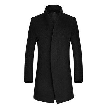 Free Shipping Men's Short Trench Coat Fashion Wool Long Mens Coat Winter Trench Coat Men 4 Color