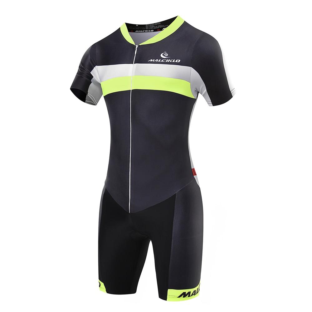 Prix pour MALCIKLO D'été cyclisme maillot Manches Courtes Cyclisme Skinsuit Fluorescent vert Hommes Triathlon vélo Vêtements livraison gratuite