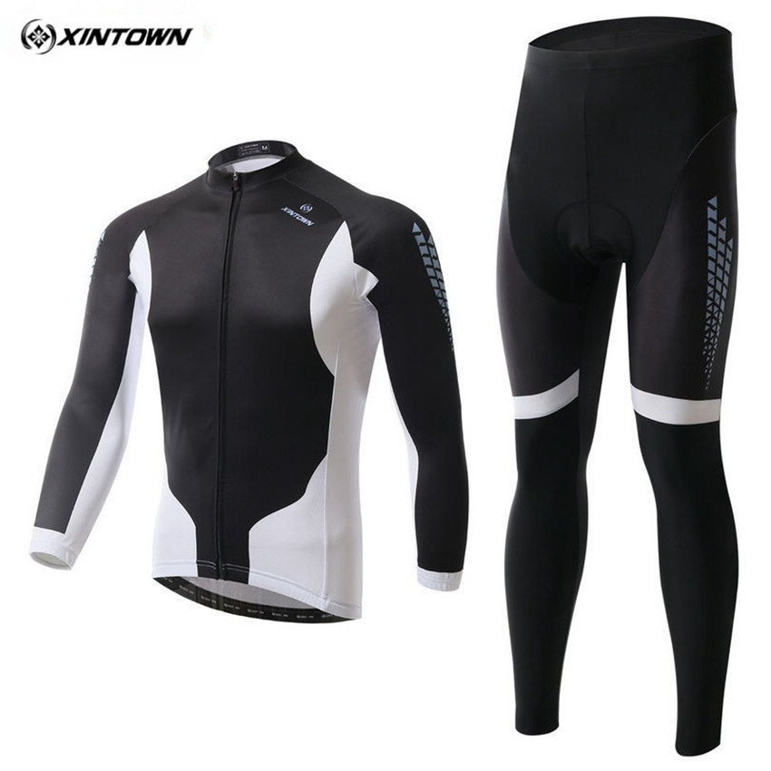 XINTOWN Men Long Cycling Jersey Set Winter Mtb Breathable Sportswear Riding Cycling Clothing Roupa Ciclismo CC0379