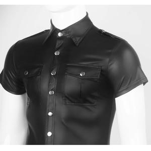 Image 5 - Męski ze sztucznej skóry koszule PU skóra koszulki z krótkim rękawem mężczyźni Sexy topy Fitness gejów lateksowe koszulka Tees mężczyzna etap topy Tee Sexy odzież klubowa