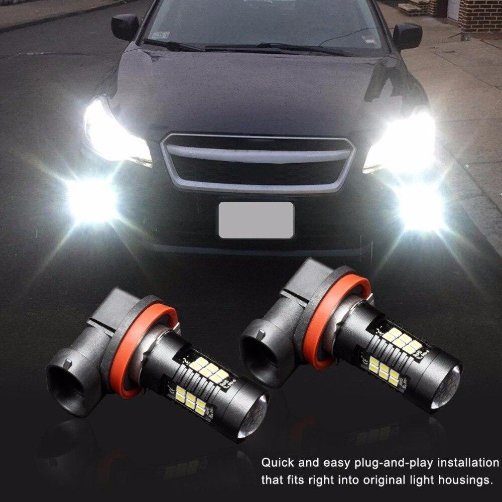 2 шт. H11 светодиодные противотуманные лампочка, 21SMD 3030 фишек с проектором для авто, дневной Runnig огни DRL или туман, ксеноновые Белый 6000 К