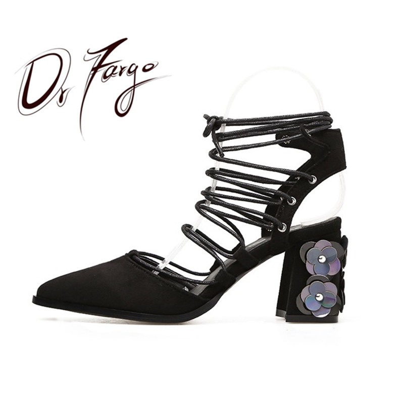 DRFARGO Summer Shoes Women Sandals 8cm Block Heel Flower Ankle Strappy Pointed Toe Gladiator Sandals Women Mujer 2019 sapato
