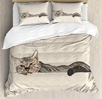 Cat Duvet Cover Set King Size Lazy Sleepy Cat Figure in Earth Tones Cute Furry Mascot Indoor Pet Art Illustration Bedding Set