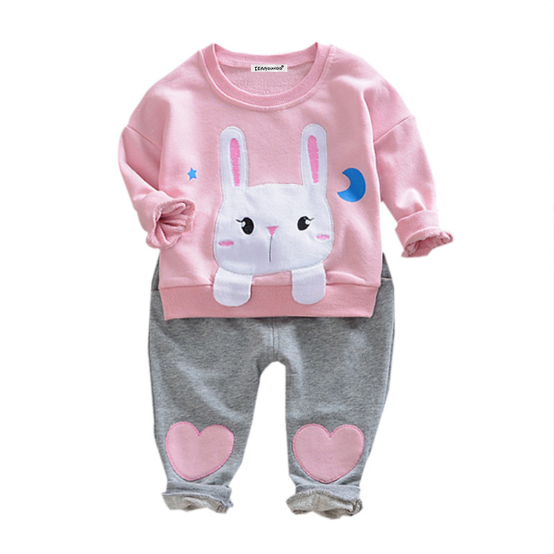 Infant Clothing 2017 Autumn Winter Kids Baby Girls Clothes T-shirt+Pant 2pc Outfit Girls Sport Suit Newborn Baby Clothes Set 2017 hot newborn infant baby boy girl clothes love heart bodysuit romper pant hat 3pcs outfit autumn suit clothing set