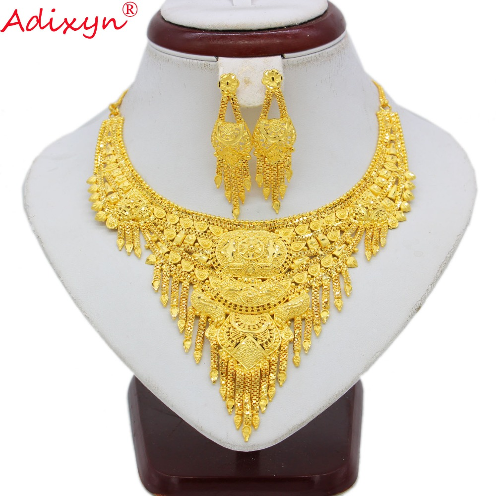 Adixyn India Jewelry Set For Women Girls Gold Color Chokers Chain Earrings Elegant Arab Ethiopian bridal