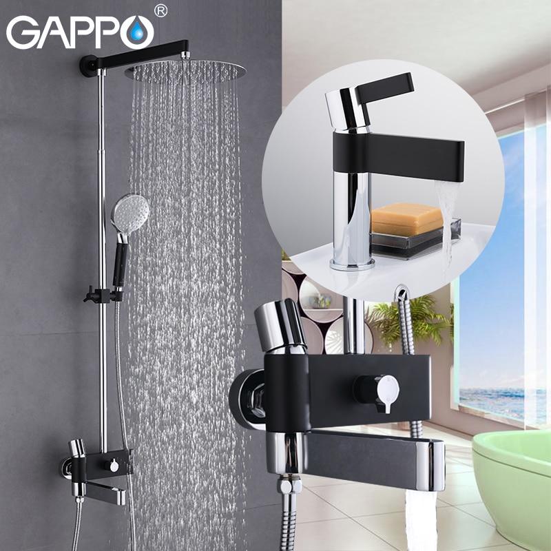 GAPPO вентиль бассейна s латунь водопроводной воды chrome и черный Ванна смеситель для душа комплект с вентиль бассейна система ванной душ