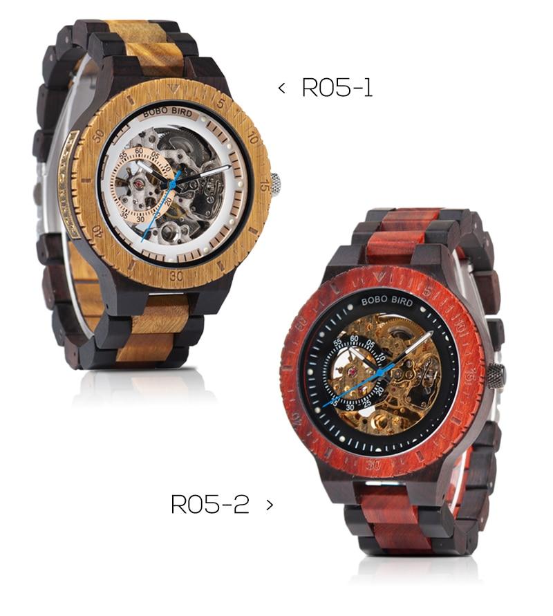 HTB1B9Jna.T1gK0jSZFrq6ANCXXak Relogio Masculino BOBO BIRD Mechanical Watch Men Wood Wristwatch Automatic Customized Gift for Dad