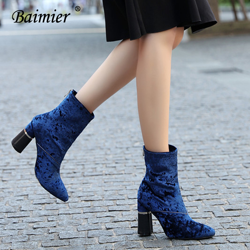 Baimier Winter Velvet Ankle Boots For Women Chunky Heel Women Sock Boots Pointed Toe High Heels Boots Women Luxury Shoes Woman 3
