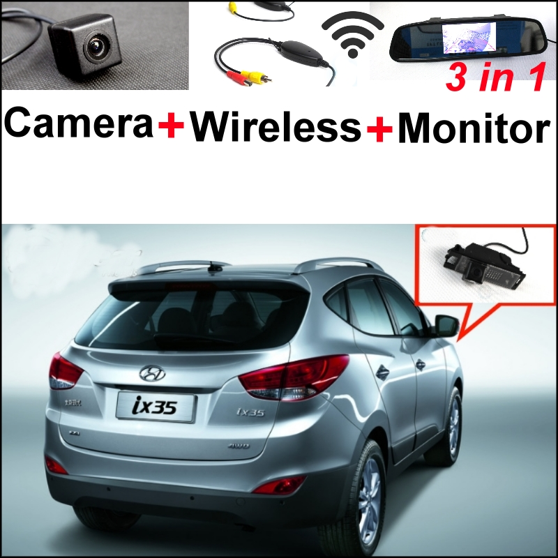 3 in1 Special Rear View Camera + Wireless Receiver + Mirror Monitor Easy DIY Back Up Parking System For Hyundai ix35 2009~2014 wireless receiver mirror monitor diy back up parking system for toyota sportsvan 3 in1 special rear view camera