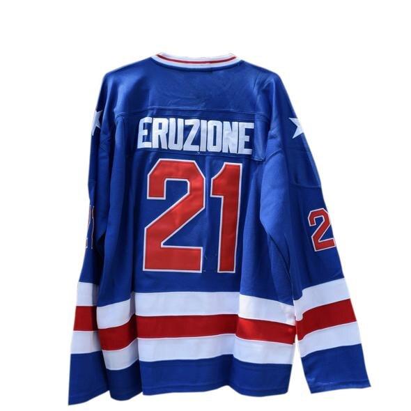 Maillot de Hockey sur glace bricolage Design personnalisé Mike Eruzione #21 Miracle on USA chandail blanc bleu toute taille point brodé nom numéro
