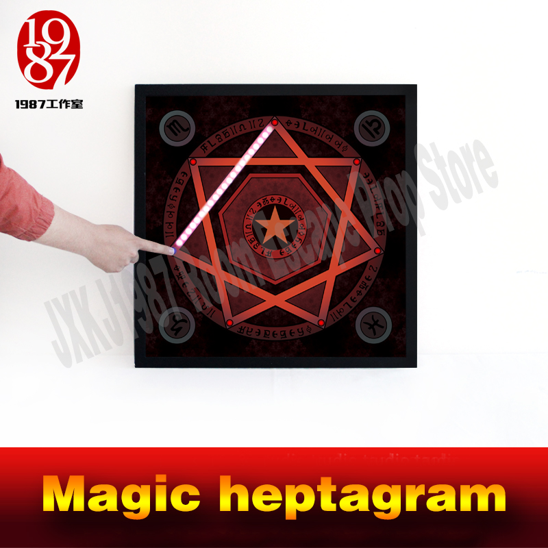 Room escape prop real life adventure game Magic heptagram touch the sensible points in correct sequence to unlock from JXKJ1987