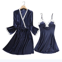 Sexy Embroidery Robe Gown Set Femme Satin Sleepwear Home Suit Night Skirts Bathrobe 2 PCS Suspender Sleepwear 1701 High Quality