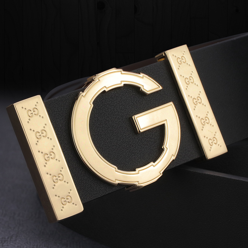 High Quality G Letter Slide Buckle Leather Genuine Belts Men Fashion Luxury Brand Cowskin Waist Strap Casual Cintos Masculin