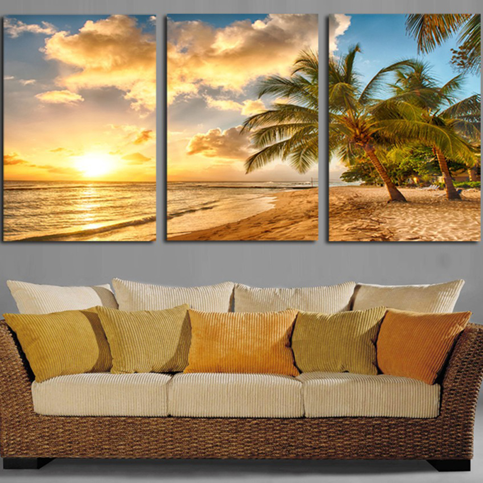 Beachy Living Room Big On Wall Decor: Canvas Painting Living Room Decor 3 Pieces Sunset Beach