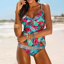 Echoine Floral Print Tankini Swimsuits Women Strappy Two Piece Swimwear Padded Bralette Bikini Top Low Waist Triangle Bathers