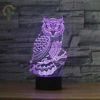 Fashion 3D Acrylic Owl Night light Visual Led Table Lamps for Room Decoration Novelty Night lights for Kids Gift USB Table Lamp