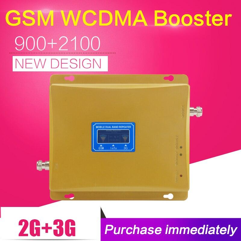 Chaud GSM 3G W-CDMA 2100 mhz double bande Booster LCD affichage GSM 900 WCDMA 2100 Mobile répéteur de Signal ALC Contral amplificateur cellulaire