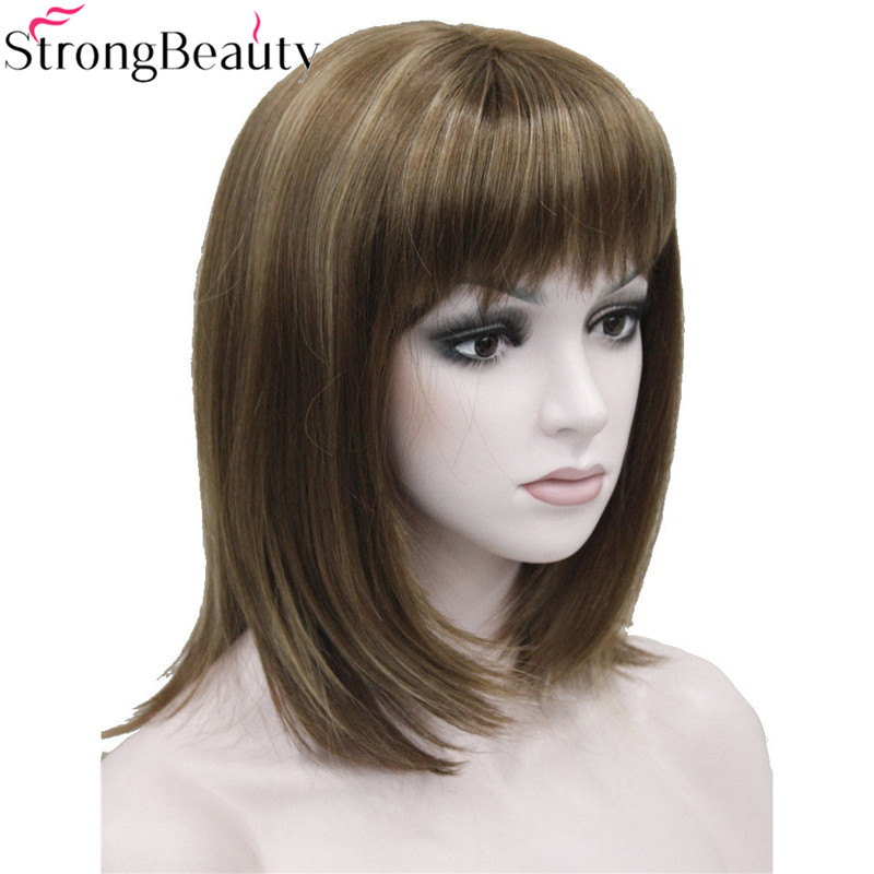Strong Beauty Synthetic Wigs Medium Long Straight Hair For Women Heat Resistant Full Wig
