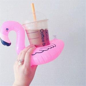 Luft Matratzen für Tasse Aufblasbare Flamingo Getränke Tasse Halter Pool Schwimmt Bar Coaster Schwimmhilfe Schwimmen Spielzeug Trinken Halter