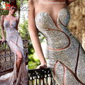 Luxury Crystal 2017 Best Selling Sexy Mermaid Amazing Vintage Dubai See Through Formal Evening Prom Dress LIYATT