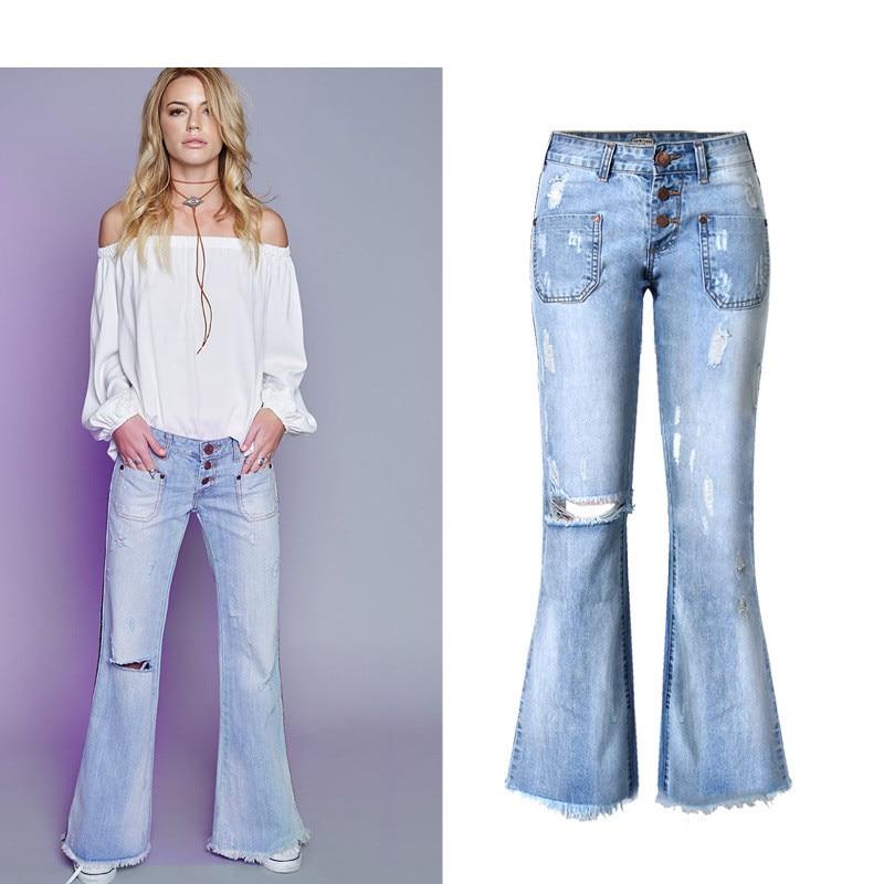 Boyfriend Jeans For Woman Loose Wide Leg font b Boot b font Cut Tassel Pants Mid