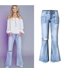 Джинсы-бойфренды женские свободные широкие брюки загрузки вырезать кисточкой штаны со средней талией DENIM почесал рваные летние ковбойские Стиль синие джинсы