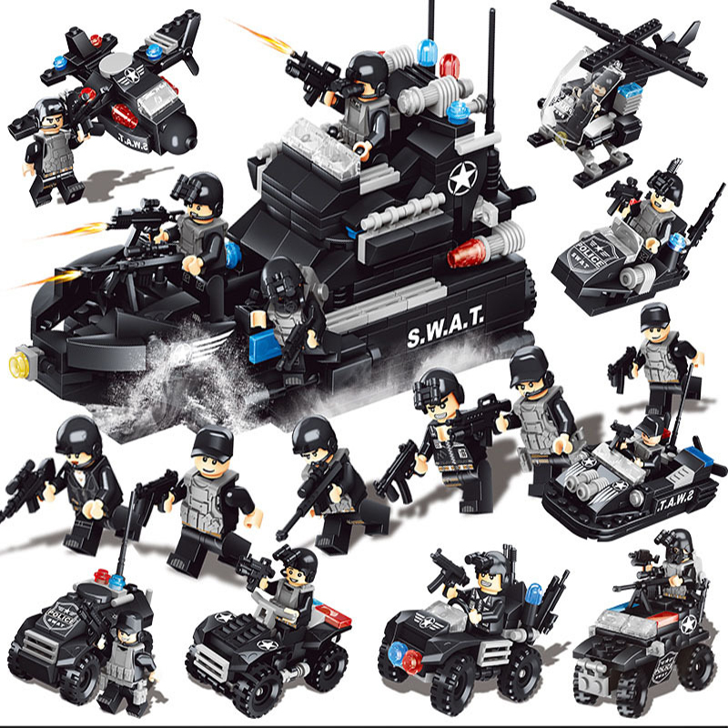 Building Blocks Figures Sets SWAT Team Transport Helicopter Battlefield Compatible SWAT City Police Gift Toys for Children Kids building toys air force