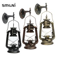 Smuxi Rustic Antique Vintage Style E27 Retro Lantern Wall Lamp Sconce Light Fixture Aisle Balcony Home Decoration Wall Lamp
