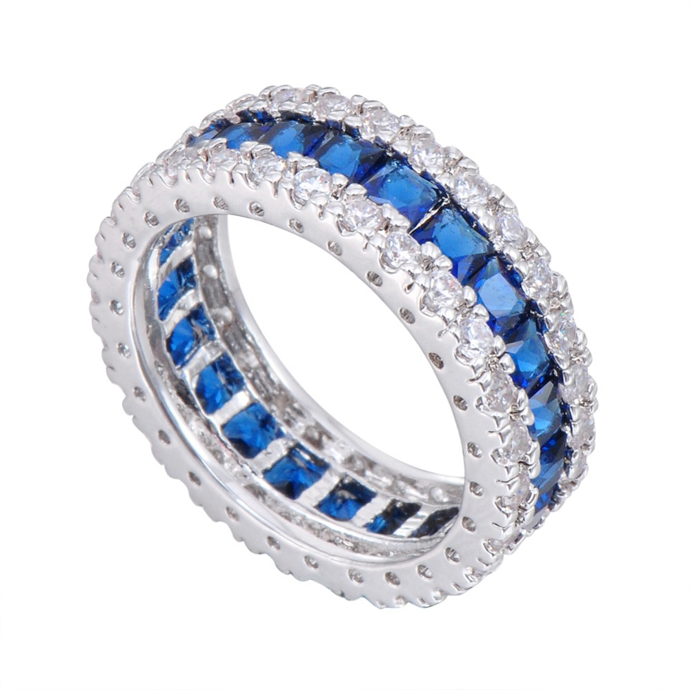 plated love rhodium celtic engagement ring round wedding white cz and gold rings blue knot