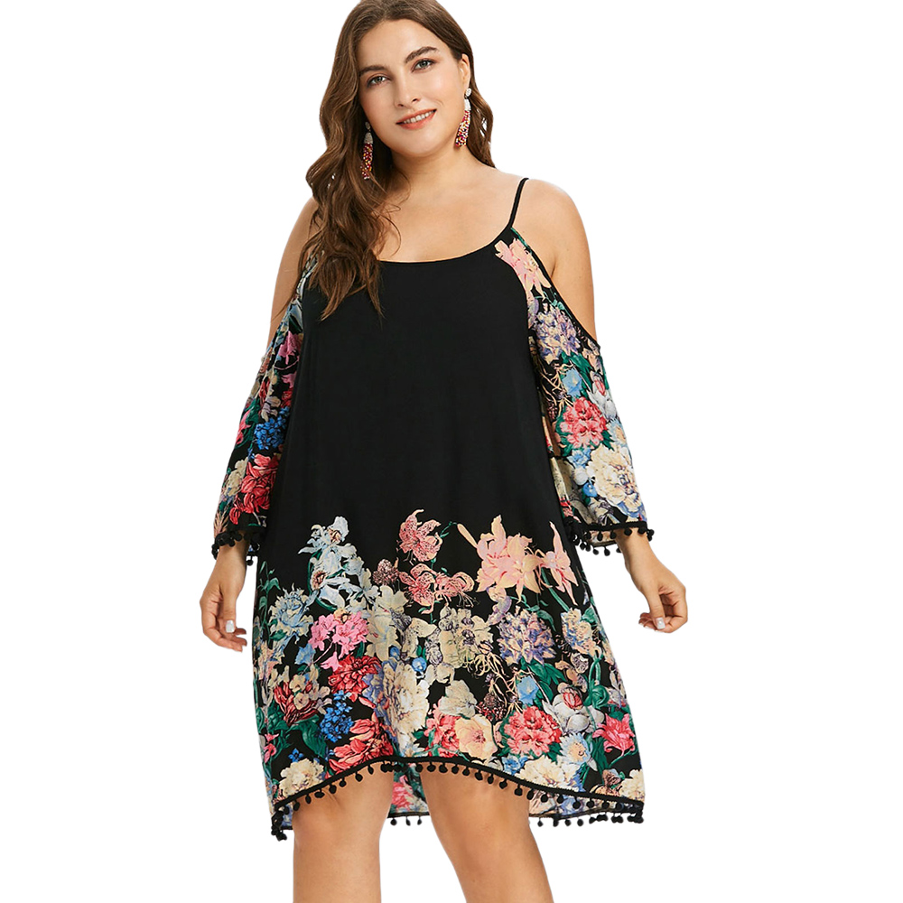 Kenancy 2018 New Plus Size Print Floral Casual Cold Shoulder Dress  Spaghetti Strap Long Sleeves O 43a0027528a7