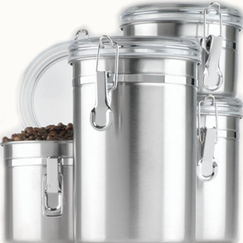 4-Piece Stainless Steel Clamp Canister Set with Clear Lid