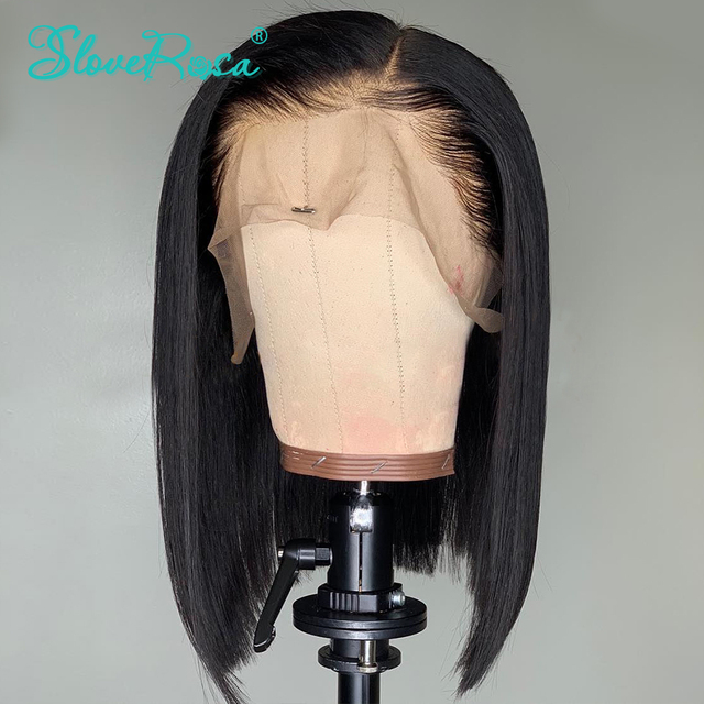 Pelucas de Bob corto de encaje 13x4 cabello Remy 130% brasileño se puede teñir pelucas de cabello humano frontal de encaje nudos blanqueados pre-desplumados Rosa