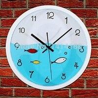 Deniz balıkları ev dekor bağbozumu saat relojes pared decoracion büyük digita izle relogio parede duvar saatleri mutfak plastik