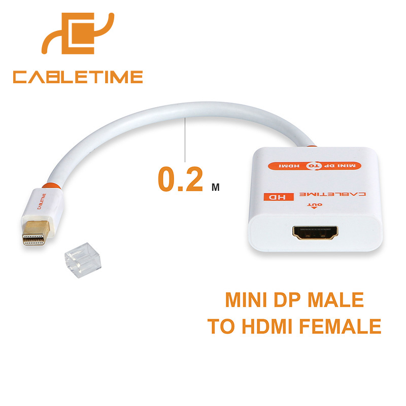 Cabletime Mini DP Thunderbolt to HDMI Cable M/F Mini DisplayPort to HDMI Adapter for MacBook Pro Air iMac 1080p projector N020 cabletime dp to hdmi male female converter 4k 2k display port to hdmi adaptor displayport hdmi 4kfor macbook hdtv projector n007