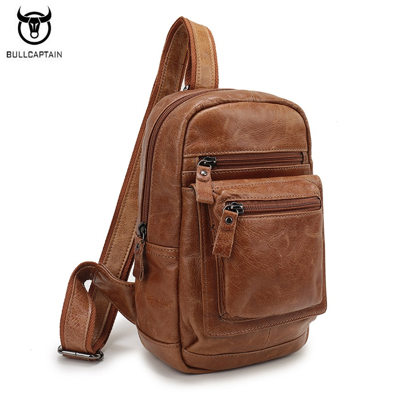 BULLCAPTAIN Brand Men Crossbody Bag Genuine Leather Large Capacity Man Chest Pack High Quality Retro Cowhide Travel Shoulder Bag 2016 new genuine polo brand golf bag for men s clothing bag women pu bag large capacity high quality