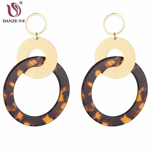 Danze Fashion Women Leopard Print Earrings Metal Resin Round Drop Geometric Statement Orni Jewelry Dropshipping
