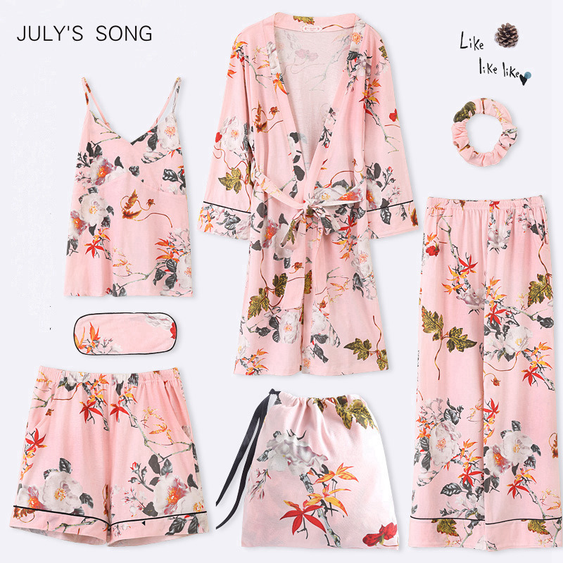JULY'S SONG 7 Pieces   Pajama     Set   2019 Autumn Winter Cotton Elegant Women   Pajamas   Full Shorts Soft Nightwear Sexy Robe Sleepwear