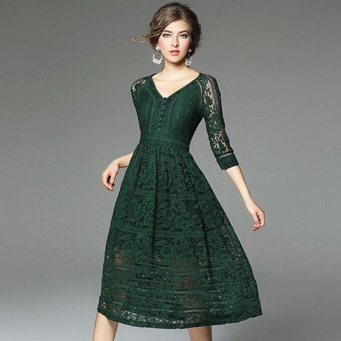 Robe en dentelle Nouvelle Mode 2018 Printemps Été Femmes V-cou Creux Out Crochet Dentelle Florale 3/4 Manches Noir Rouge Vert Robe Sexy